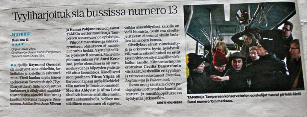 Tyyliharjoituksia bussissa numero 13, Aamulehti
