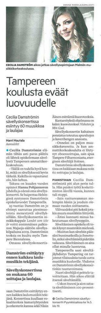 Tampereen koulusta eväät luovuudelle, Aamulehti