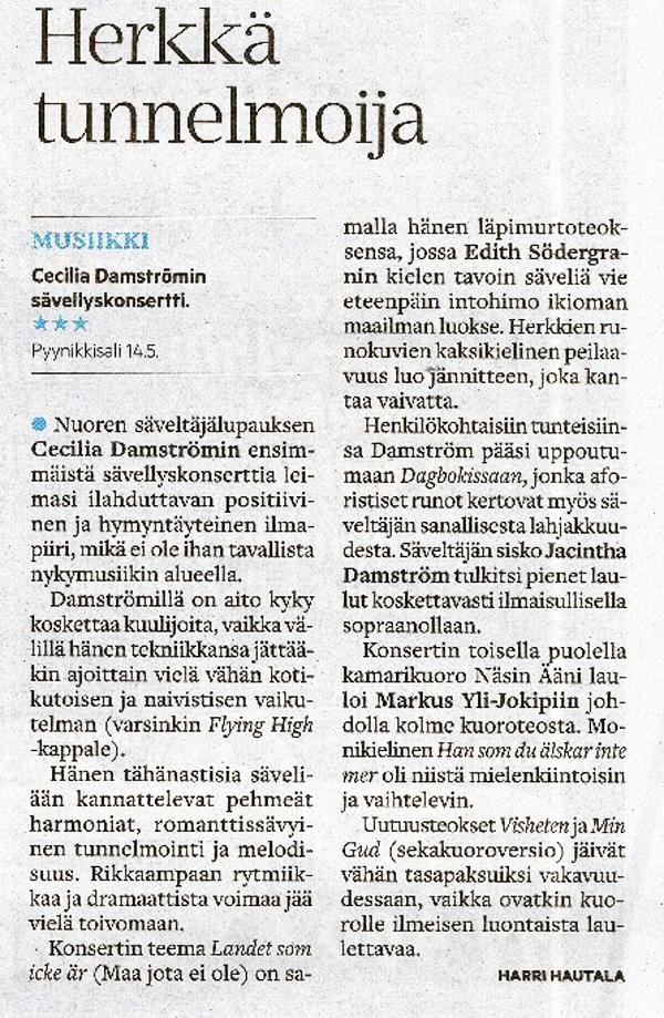 Herkkä tunnelmoija, Aamulehti