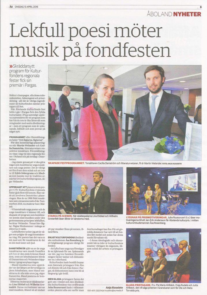 Lekfull poesi möter musik på fondfesten, Åboland Nyheter