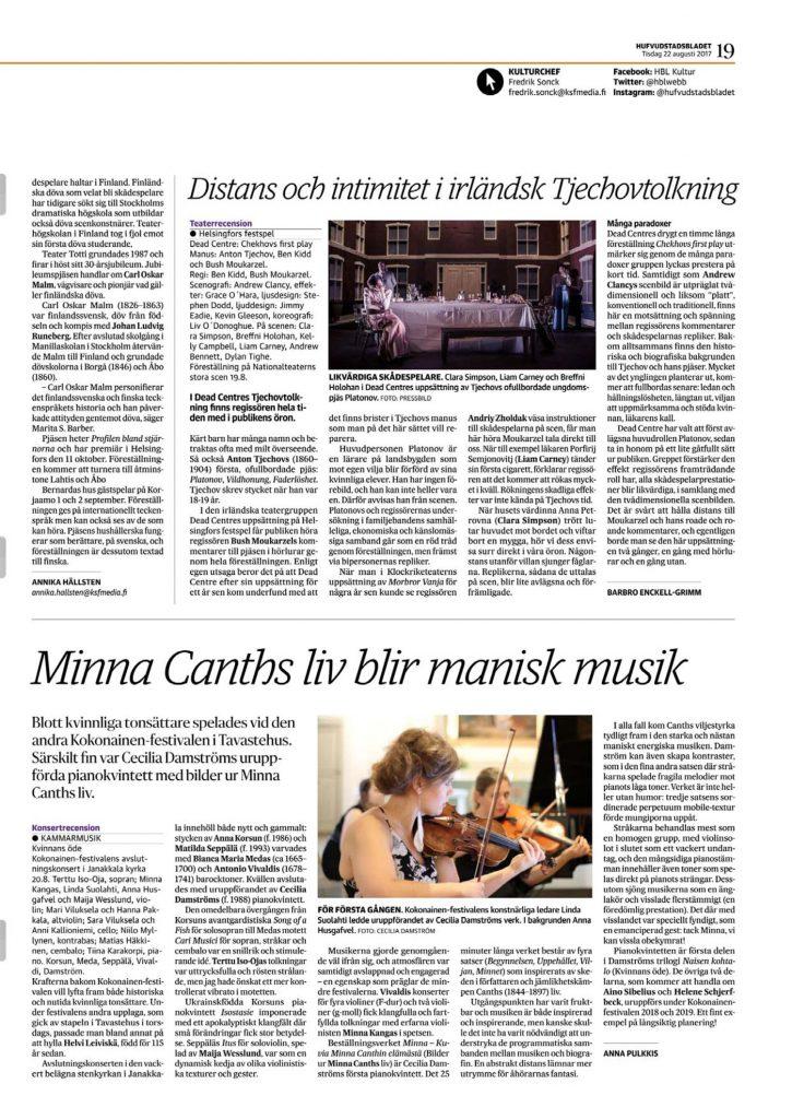 Minna Canths liv blir manisk musik, HBL